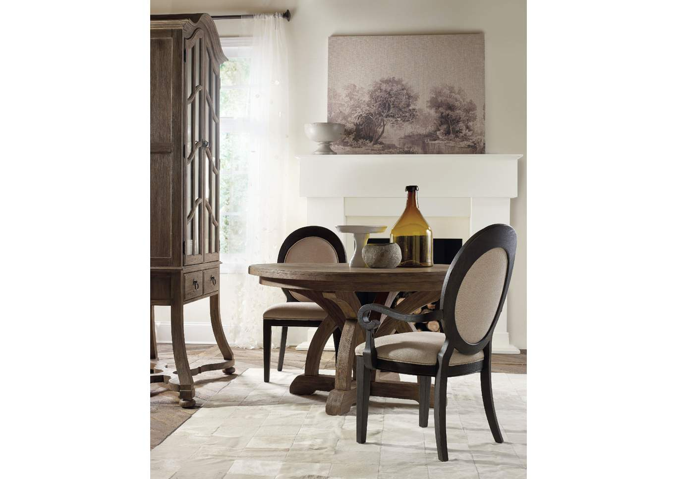 Ivan smith corsica round dining table w 1 18 leaf w arm for Round dining table w leaf