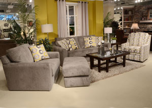 Sutton Canary Loveseat & Chair w/ Ottoman