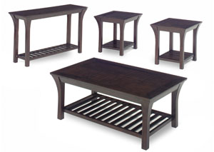 Merlot Wood Cocktail Table w/ Slat Shelves