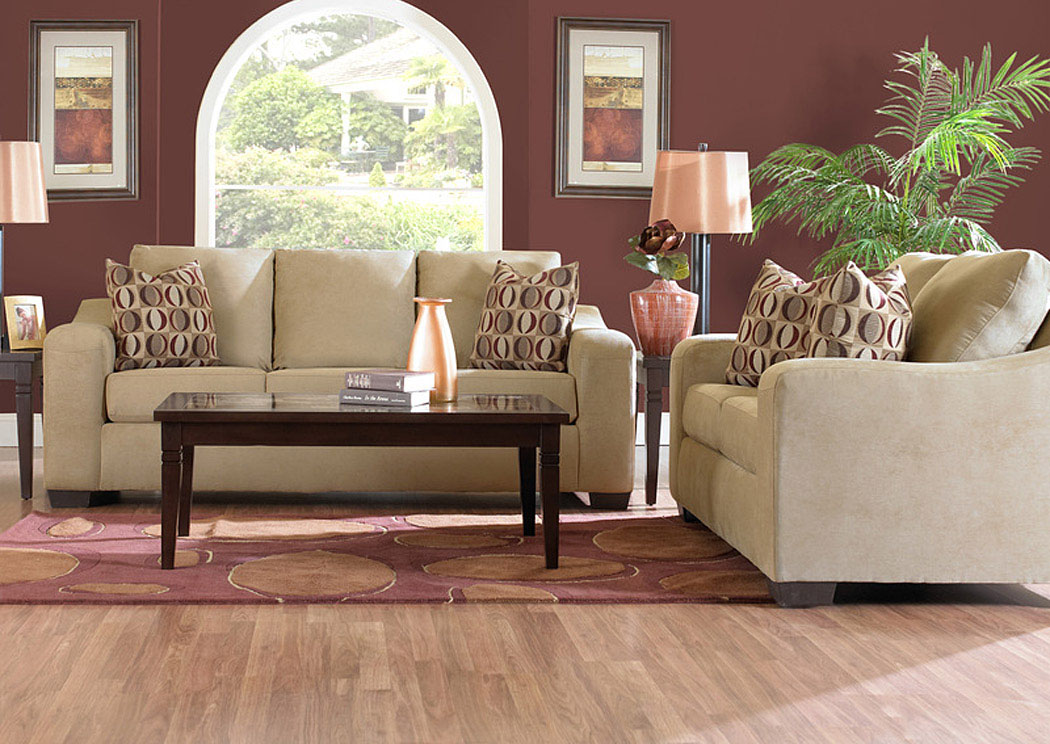 Compass Furniture Darien Camel Loveseat