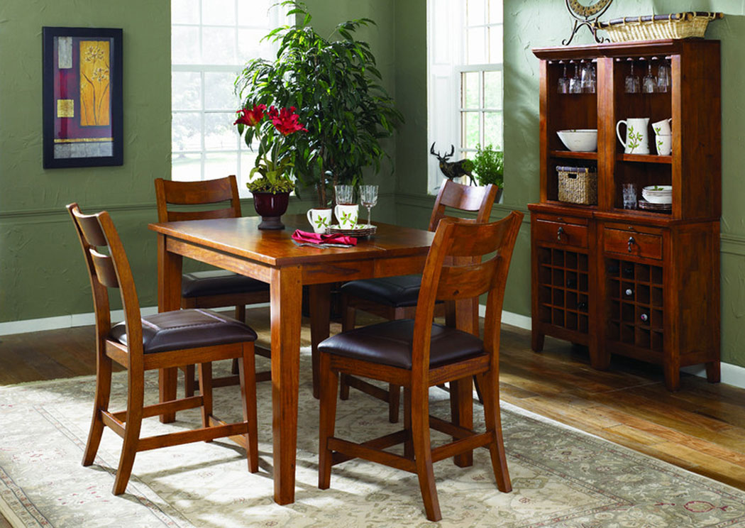 Urban Craftsmen Square Dining Table w/ 4 Side Chairs, Buffet & Hutch,Klaussner Home Furnishings
