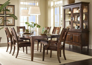 Carturra Dining Table w/ 4 Side Chairs, 2 Arm Chairs, Buffet & Hutch