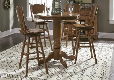 Nostalgia Round Pub Table w/4 Press Back Barstools