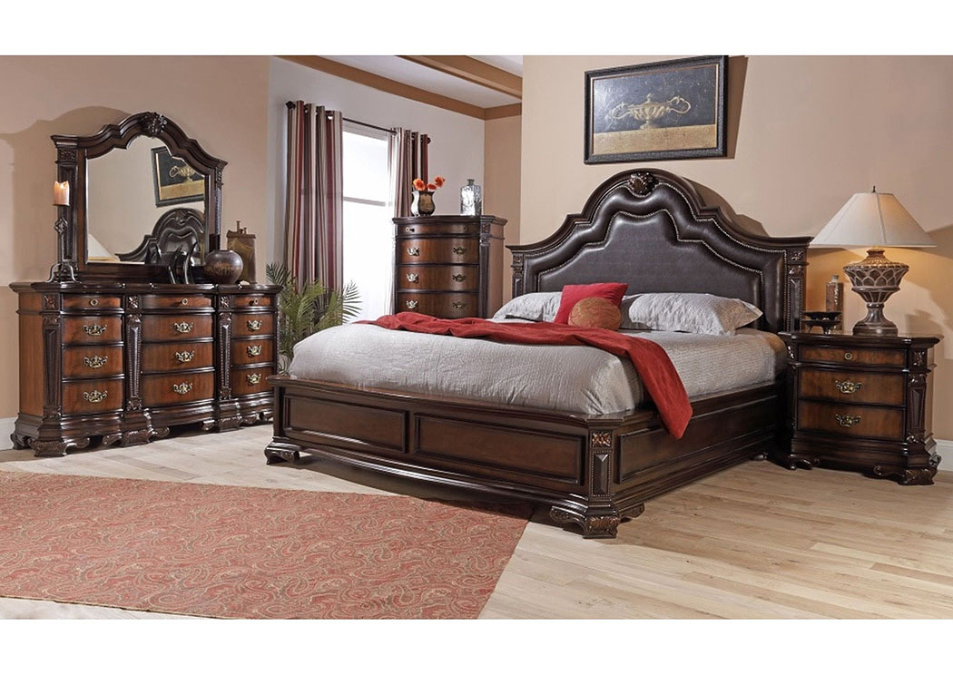 Baleigh Cherry King Upholstered Bed w/ Dresser, Mirror, Nightstand, and Drawer Chest,Lifestyle
