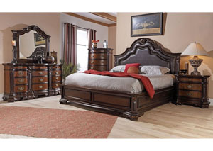 Baleigh Cherry King Upholstered Bed w/ Dresser, Mirror, Nightstand, and Drawer Chest