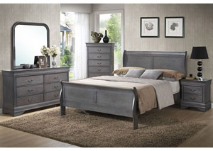 Louis Gray Queen Sleigh Bed w/ Dresser, Mirror, Nightstand, and Drawer Chest