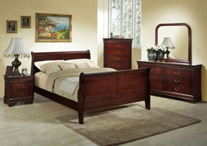 Louis Cherry King Sleigh Bed w/ Dresser, Mirror, Nightstand, and Drawer Chest
