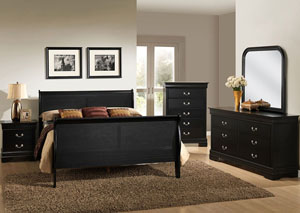 Louis Black Queen Sleigh Bed w/ Dresser, Mirror, and Drawer Chest