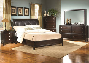 Leonardo Espresso King Upholstered Bed w/ Dresser, Mirror, Nightstand, and Drawer Chest