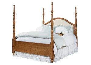 Camelback Upholstered Queen Bed, Bench Finish
