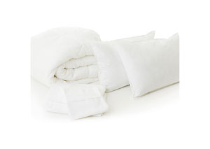 Malouf White Split California King Woven Bed in a Bag