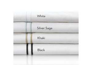 Malouf 200 Thread Count Cotton Percale White Queen Hotel Bed Sheet Set