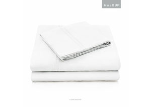 Malouf Rayon White Queen Pillowcase Set