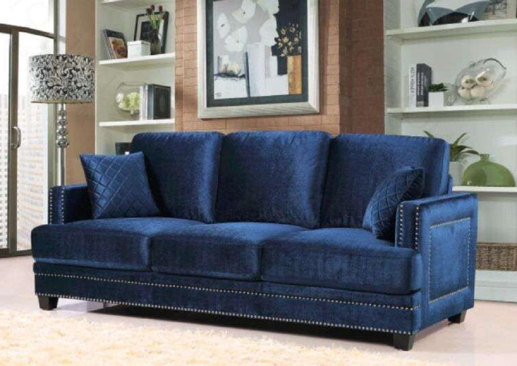 Ferrara Navy Velvet Sofa,Meridian Furniture