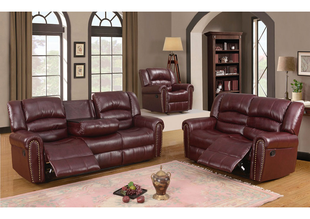 210473 Burgundy Leather Reclining Sofa