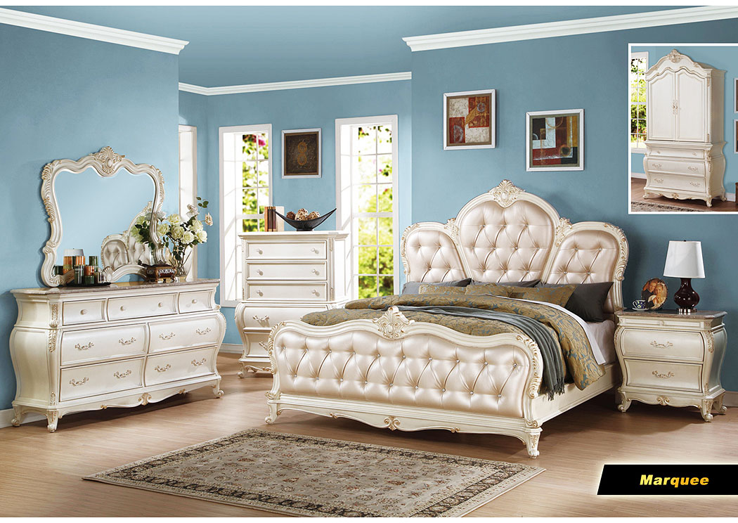 Marquee Pearl White Armoire,Meridian Furniture