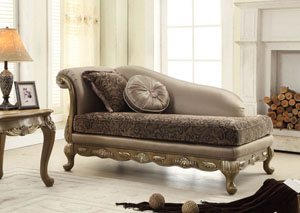 Traditional Pattern Chaise w/Pewter Finish