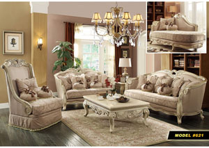 Traditional Pattern Sofa w/Antique White Finish