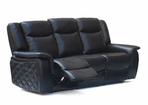 Carly Black Leather Sofa