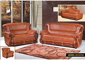 Cognac Leather Sofa and Loveseat