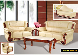 Khaki Leather Sofa and Loveseat