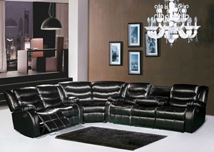 Black Leather Reclining Sectional