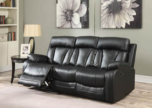 Avery Black Leather Sofa