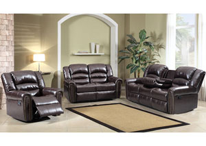 Brown Nailhead Leather Reclining Sofa