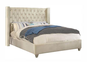 Aiden Cream Velvet King Bed