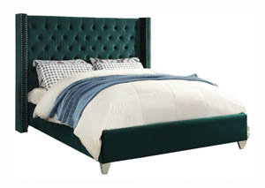 Aiden Green Velvet King Bed