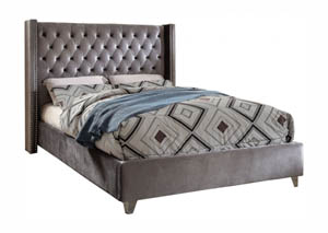 Aiden Grey Velvet King Bed