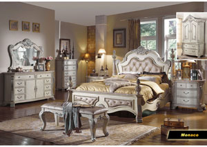 Monaco Upholstered King Poster Bed w/Dresser, Mirror, Drawer Chest & Nightstand