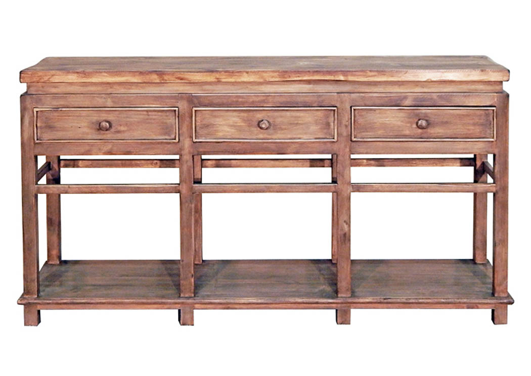 Misty Gray/Brown Sofa Table W/3 Drawers,Million Dollar Rustic