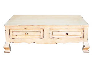 Heirloom Distressed Cream Cocktail Table w/2 Drawers