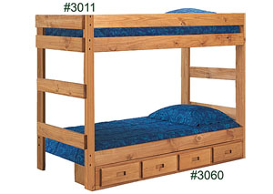 Twin/Twin One-Piece Bunk Bed, Ginger Finished