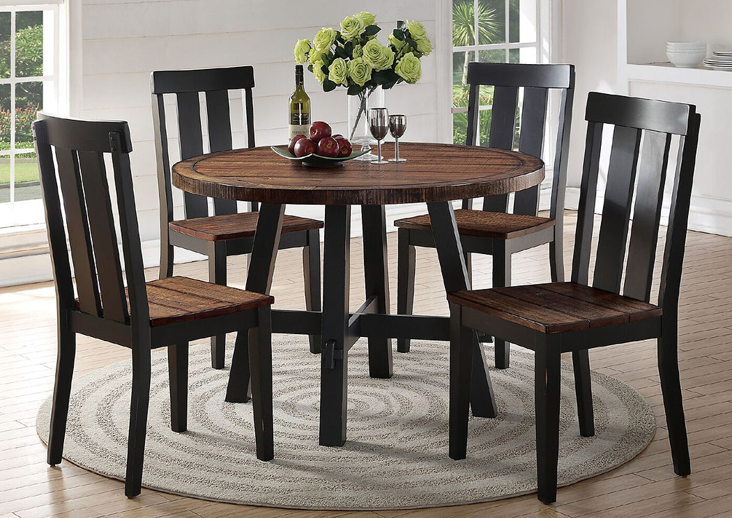 Distressed Dark Brown Dining Chair,Poundex