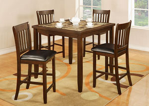 2095 5 PIECE FAUX MARBLE DINING SET