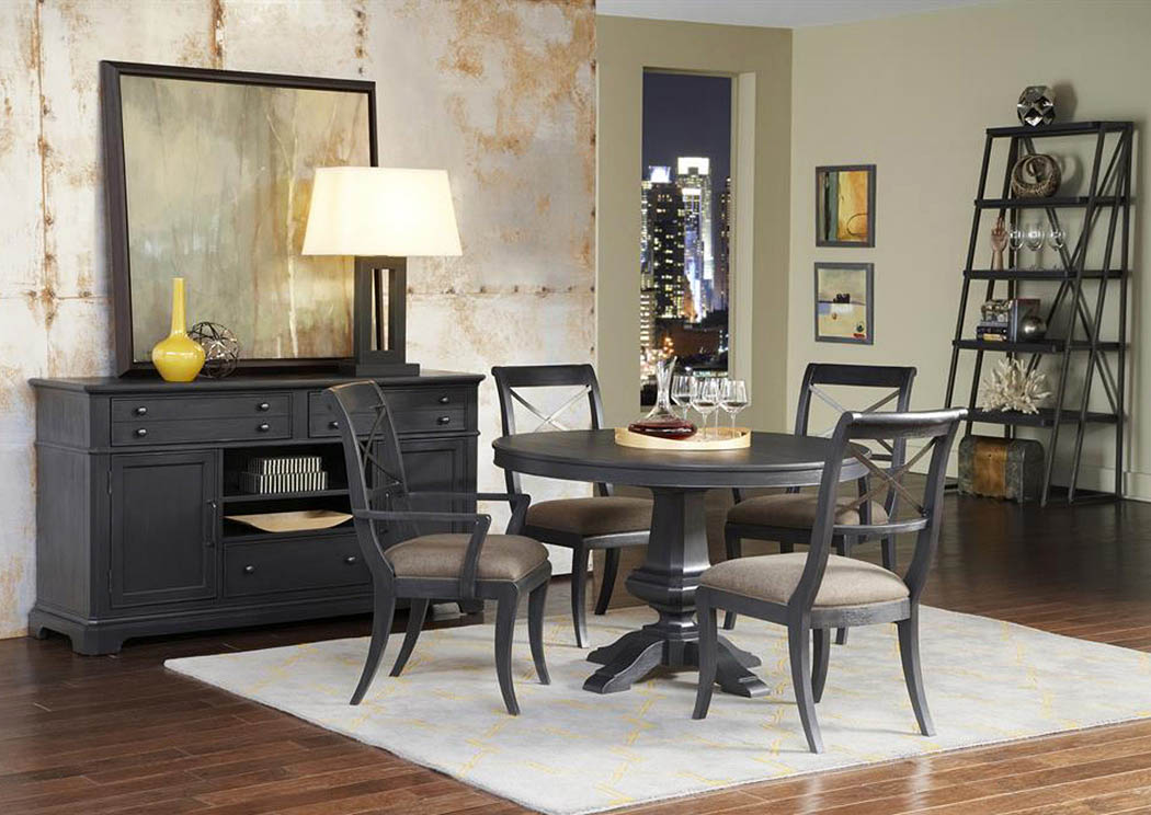 Vintage Tempo Black Round Extension Leaf Dining Table w/2 Arm & 2 Side Chairs,Pulaski Furniture