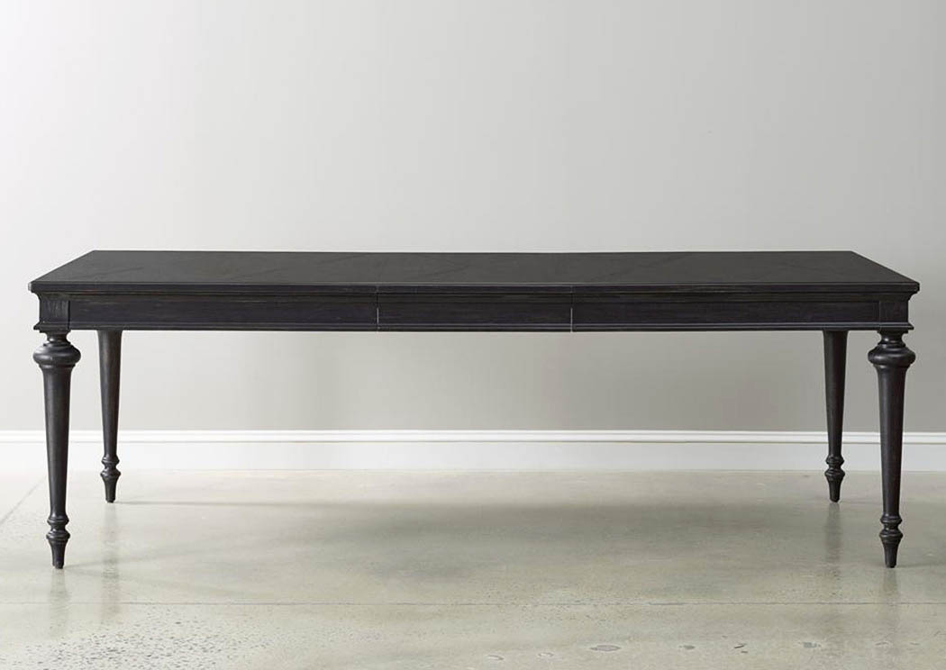 Harlem furniture vintage tempo 72 black dining table w 18 for Dining room table 72