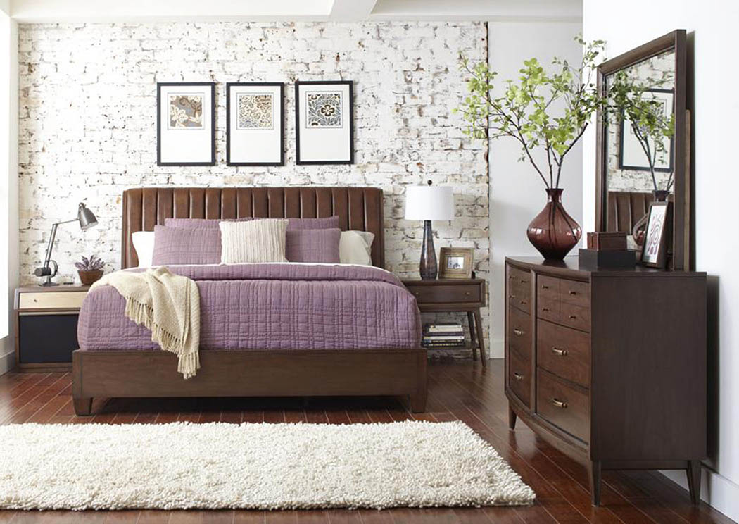 Modern Harmony Upholstered California King Bed W/Dresser, Mirror And Drawer  Chest,Pulaski