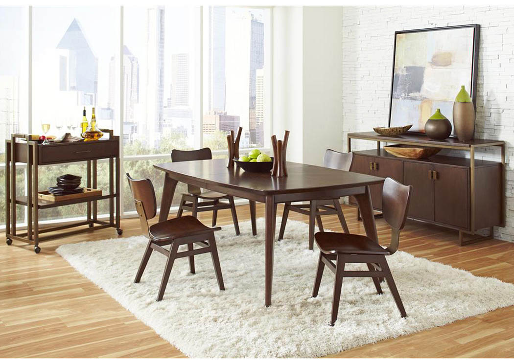 Leg Extension Leaf Dining Table W 4 Side Chairs Modern Harmony 72