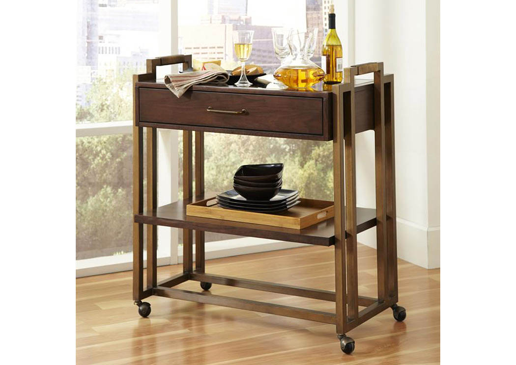 Modern Harmony 1 Drawer Serving Cart w/Bronze Mirror Top,Pulaski Furniture
