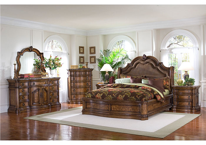 San Mateo California King Sleigh Bed w/Dresser, Mirror, Drawer Chest, & Nightstand,Pulaski Furniture