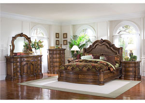 San Mateo California King Sleigh Bed w/Dresser, Mirror, Drawer Chest, & Nightstand