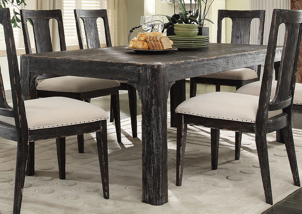 Utah Furniture Direct Bellagio Black Weathered Worn 76 Dining Table