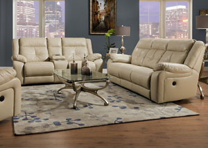 Miracle Pearl Bonded Leather Double Motion Sofa