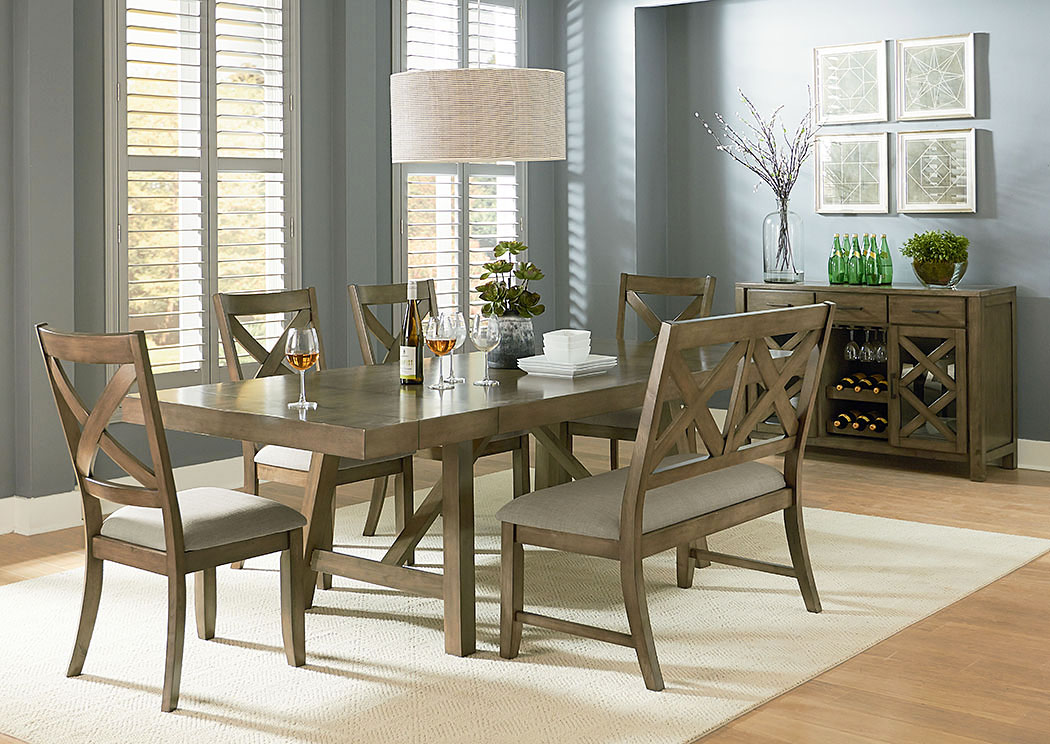Long Furniture   Rainbow City, AL Omaha Grey Trestle Table W/X Back Bench  And 4 Side Chairs