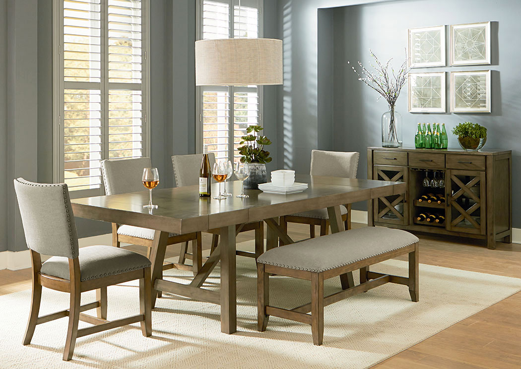 Dining Room Omaha Grey Trestle Table W Upholstered Bench