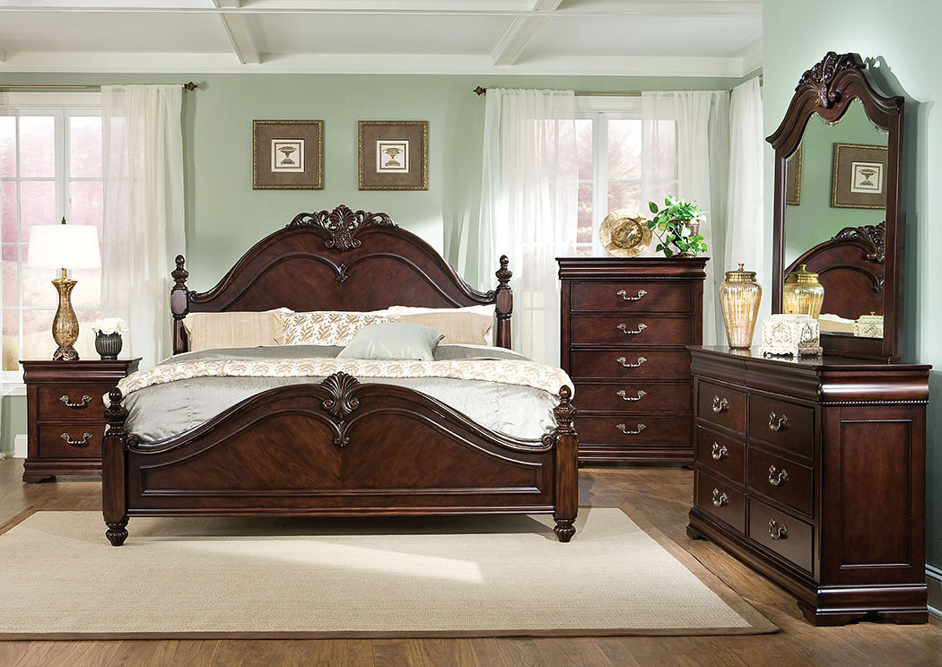Westchester King Poster Bed W/Dresser, Mirror, Drawer Chest And  Nightstand,Standard