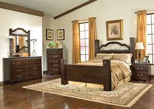 Sorrento Queen Poster Headboard Bed w/Dresser, Mirror and Drawer Chest